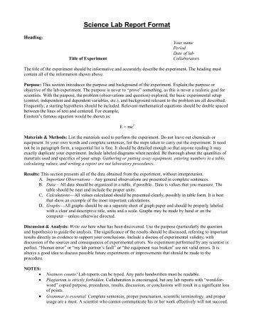 science report format - Yelomnuterasevleri