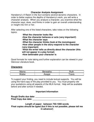 character analysis essay format - Format - character analysis