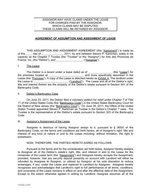 agreement of assumption and assignment of lease - Great American