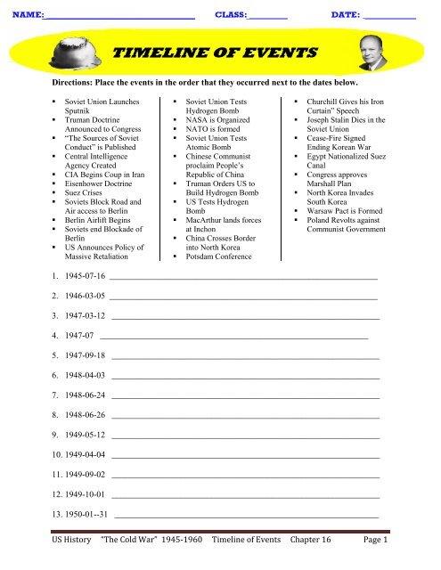 US History â\u20acœThe Cold Warâ\u20ac 1945-1960 Timeline of Events Chapter