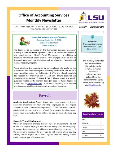 Office of Accounting Services Monthly Newsletter - Finance and