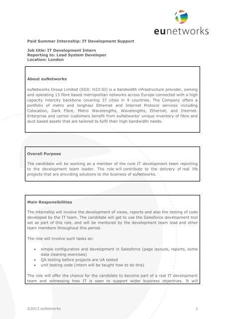 Paid Summer Internship IT Development Support Job - euNetworks