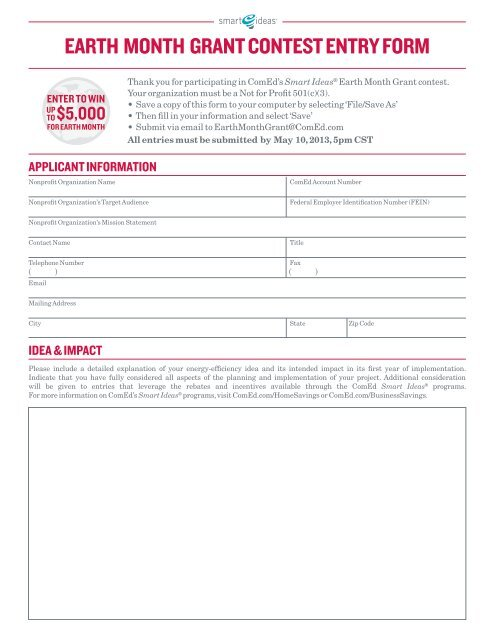 EARTH MONTH GRANT CONTEST ENTRY FORM - ComEd