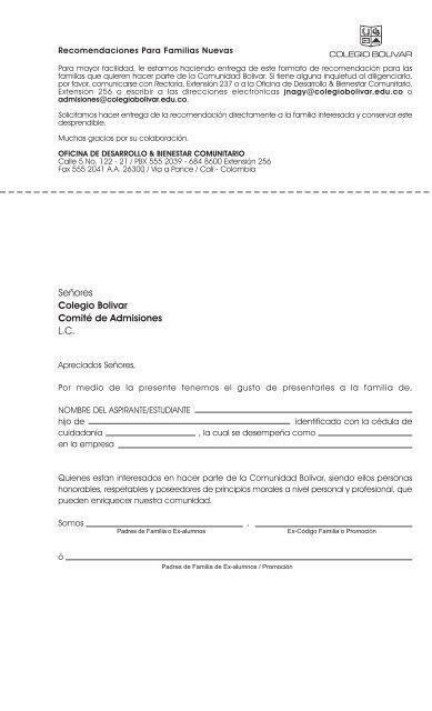 Formato de Carta de Recomendación - Colegio Bolivar