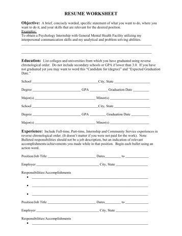 Resume Worksheet oakandale - Resume Worksheet For High School Students
