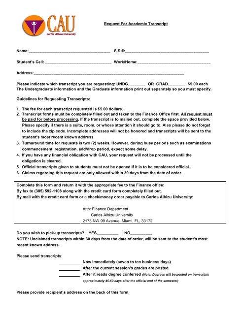 Download Transcript Request Form - Carlos Albizu University