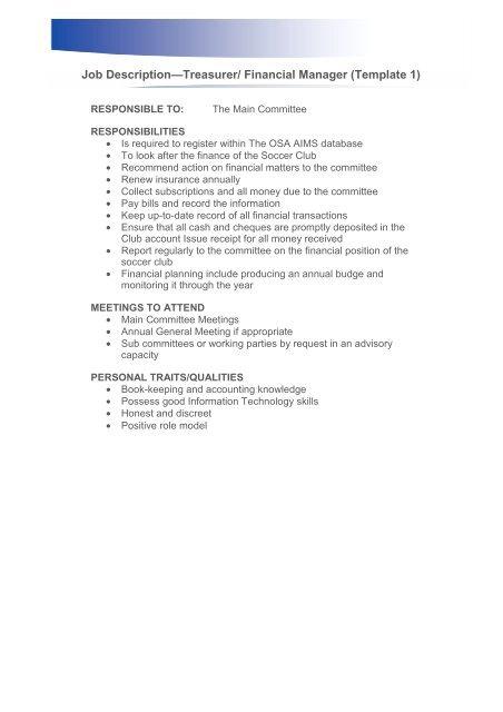 Treasurer/Financial Manager Job Description - Ontario Soccer