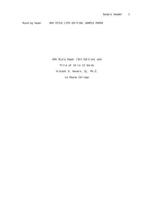 Sample Header 1 Running head APA STYLE (5TH EDITION