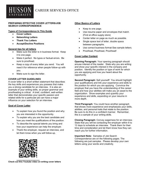 Cover Letters and Job Search Correspondence - Husson University