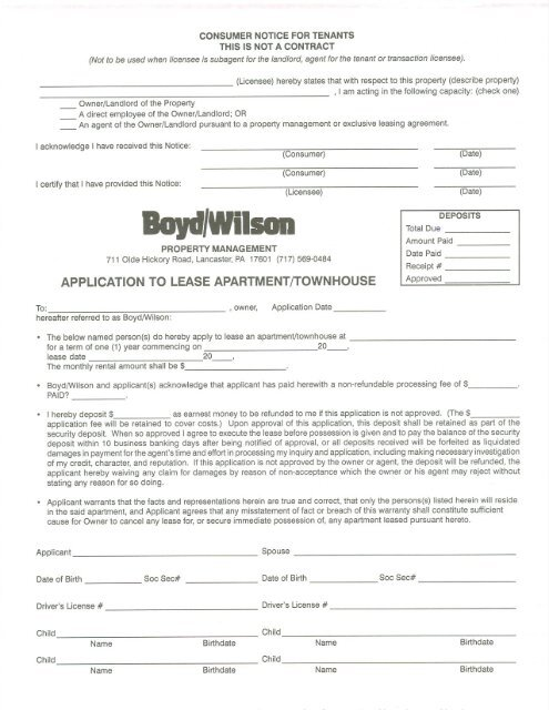 APPLICATION TO LEASE APARTMENT/TOWNHOUSE - Apartments