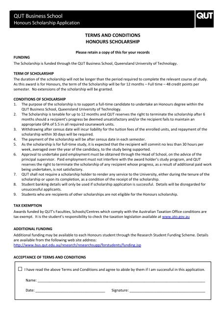 Business Honours Scholarship application form - QUT
