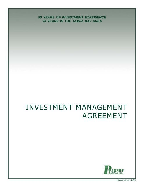 PCI\u0027s Investment Management Agreement - Pearson Capital, Inc