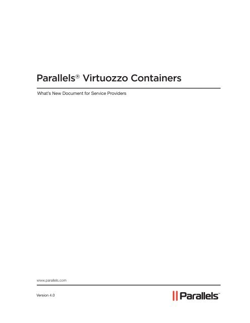 What\u0027s New in Virtuozzo Containers 40 - Parallels