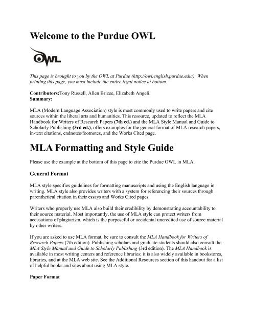 the Purdue OWL MLA Formatting and Style Guide - Academos