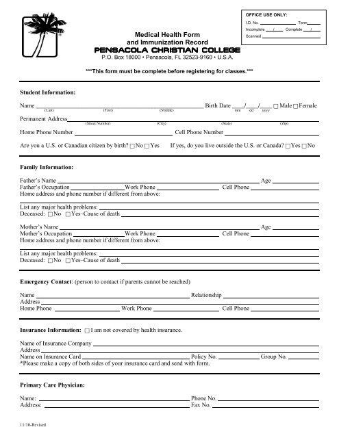 Medical Health Form and Immunization Record - Pensacola