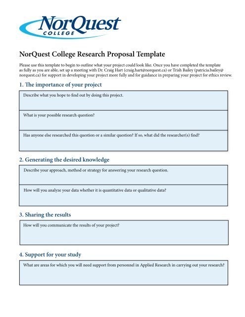NorQuest College Research Proposal Template