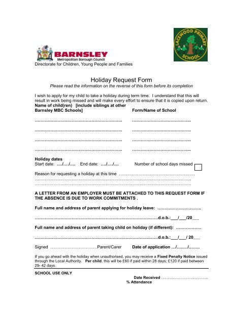 Holiday Request Form - Lacewood Primary School