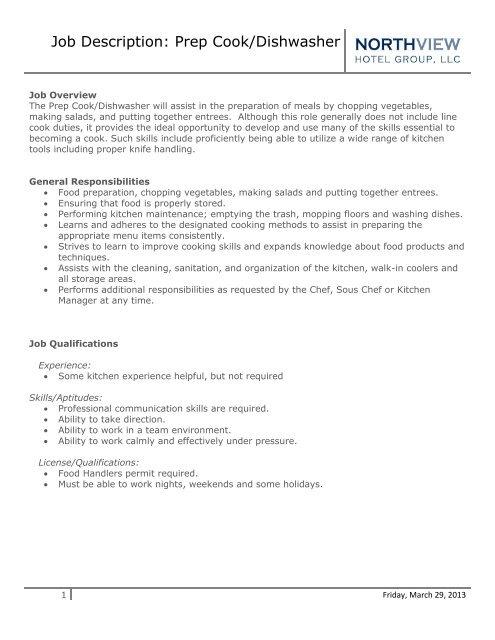 Job Description Prep Cook/Dishwasher - Eagle Crest Resort