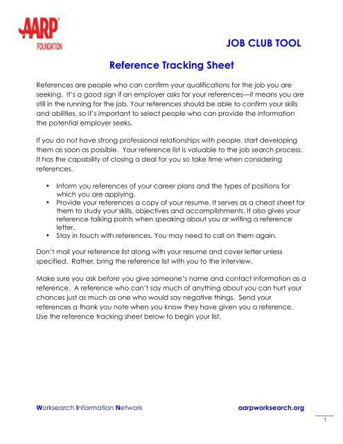 Tracking Sheet Your references - AARP WorkSearch