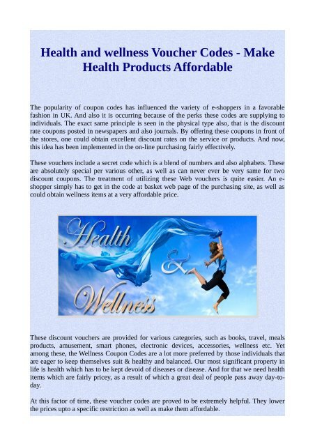Health and wellness Voucher Codes - Make Health Products Affordable