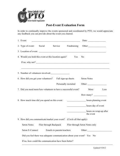 PTO Post Event Evaluation Form (pdf) - Seton Catholic School