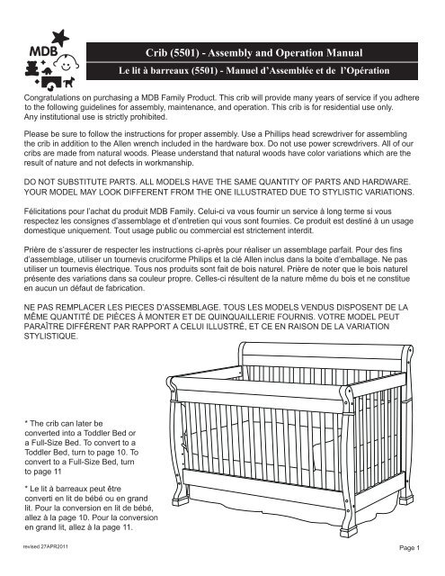 Crib (5501) - Assembly and Operation Manual - DaVinci Baby