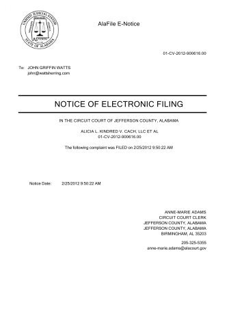 NOTICE OF ELECTRONIC FILING - Alabama Consumer Protection
