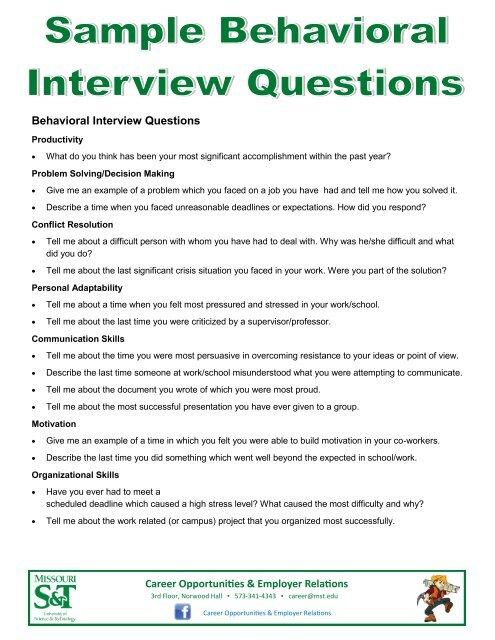 Behavioral Interview Questions - Missouri ST Career Opportunities