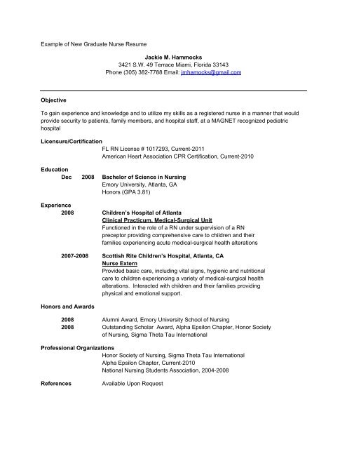 Example of New Graduate Nurse Resume - School of Nursing