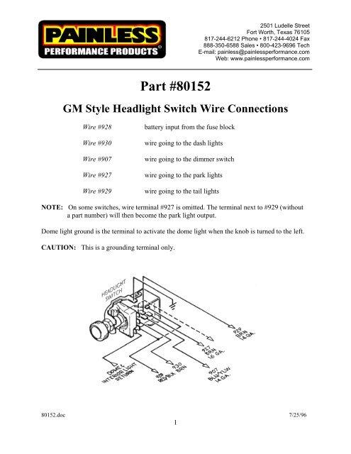 Headlight Switch/Black Knob/GM Style w/Dimmer - Painless Wiring