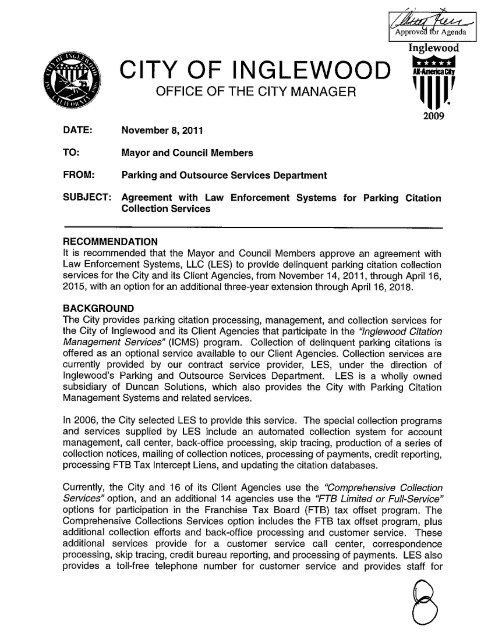 Staff report recommending approval of an - City of Inglewood