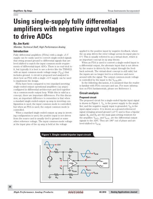 Singlesupply Bipolarinput Differential Output Amplifier Circuit