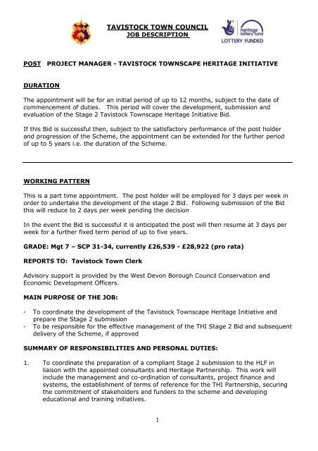 THI Project Manager Job Description - Tavistock Town Council