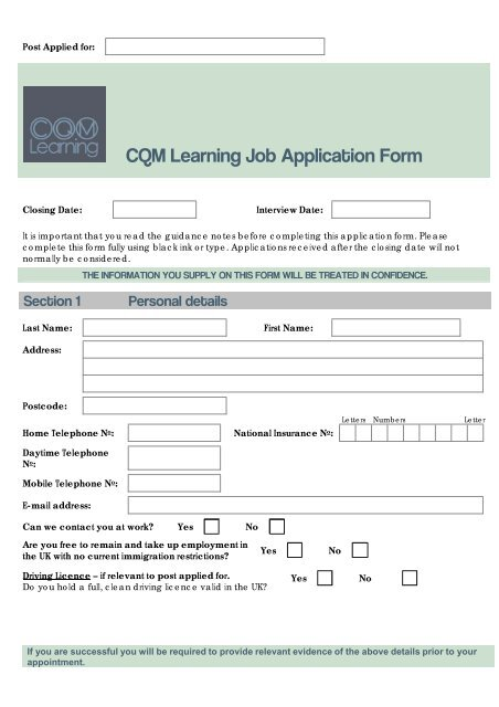 Job Application Form Template - CQM Learning