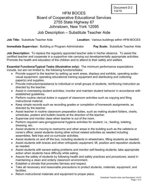 Substitute Teacher Aide Job Description - HFM BOCES