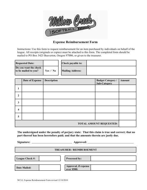 Expense Reimbursement Form - Willow Creek Softball