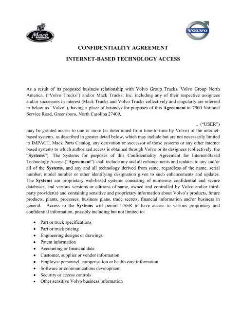 MV Select Confidentiality Agreement - Volvo of Denver