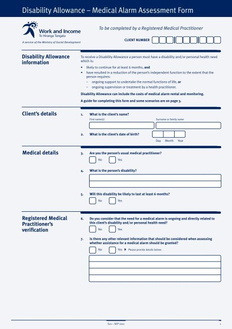 Medical Alarm Assessment Form - Work and Income