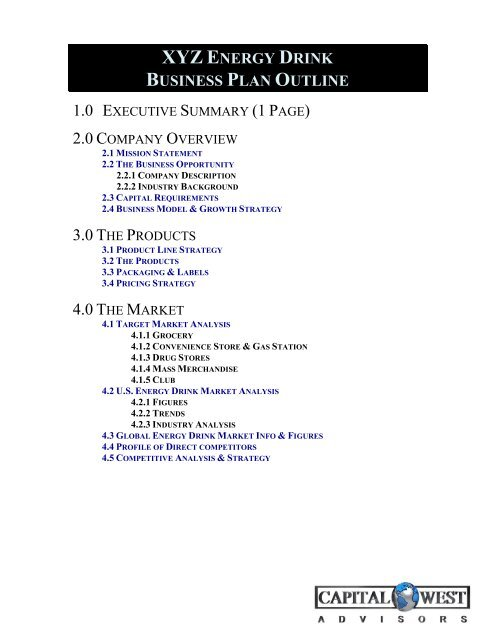 View a Sample Beverage Business Plan Outline - Capital West
