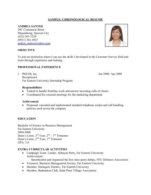 SAMPLE CHRONOLOGICAL RESUME ANDREA SANTOS 29C