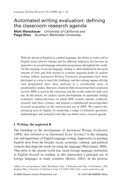 Automated writing evaluation defining the classroom research agenda