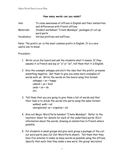 Major Word Parts Lesson Plan 1 How many words can you make