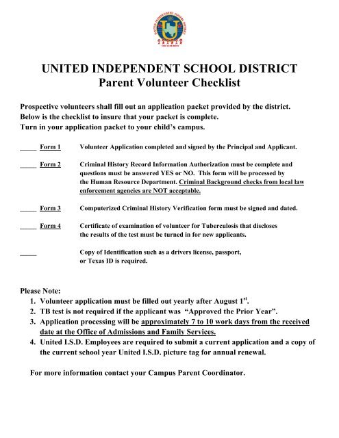 School/Parent Volunteer Application Packet - United Independent