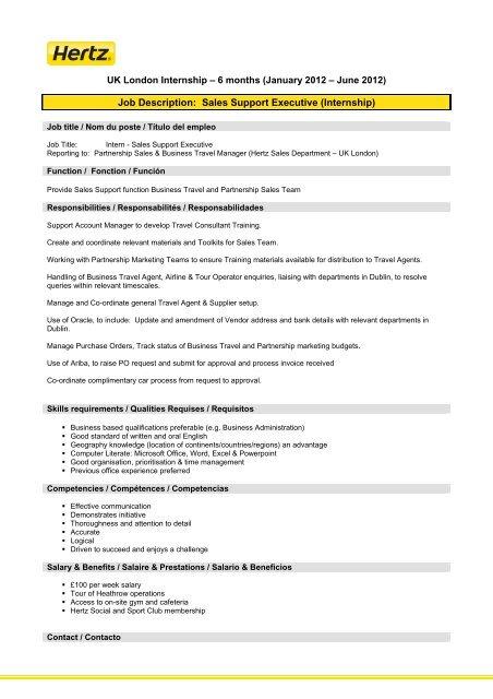 Job Description Sales Support Executive (Internship)