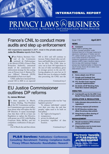 View newsletter sample - Privacy Laws  Business
