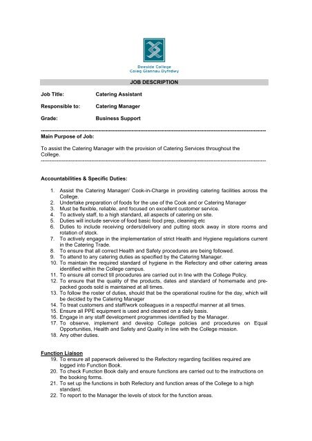JOB DESCRIPTION Job Title Catering Assistant - Deeside College