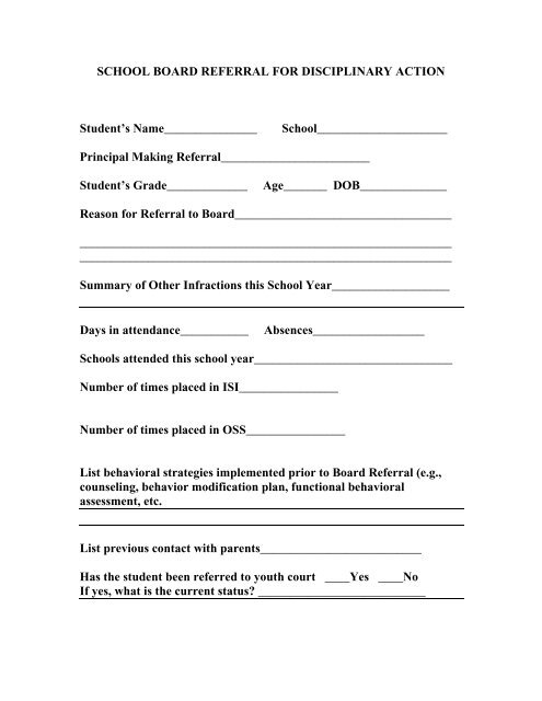 School Board Referral for Disciplinary Action Form