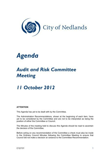 Agenda Audit and Risk Committee Meeting 11 - City of Nedlands