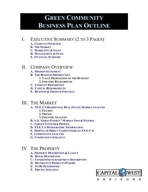 Brandi\u0027s Business Plan Outline - Capital West Advisors