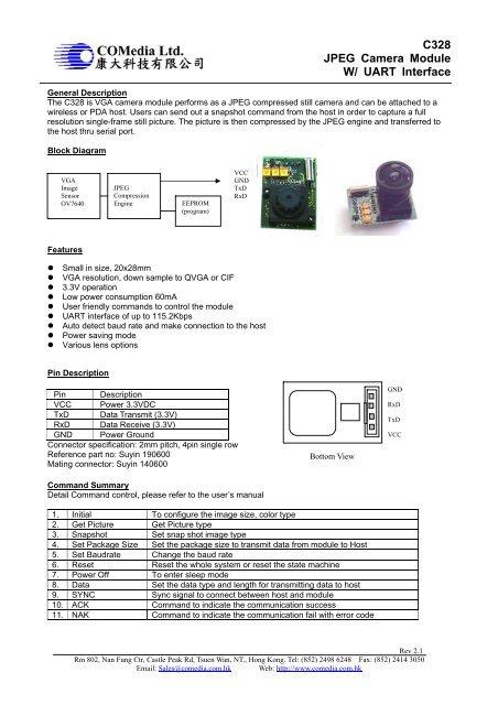 C328 JPEG Camera Module W/ UART Interface - RF Design